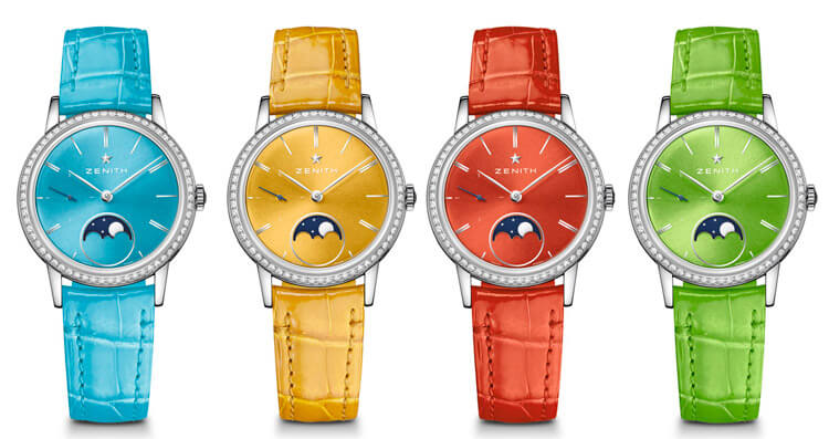 Zenith Elite Lady Moonphase 33 mm colores amarillo, turquesa, rojo y verde manzana
